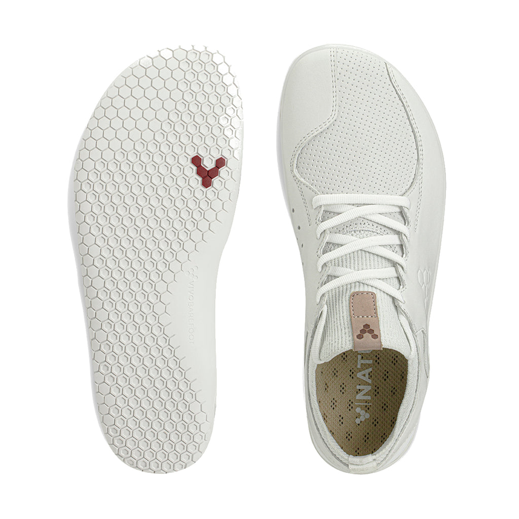 Vivobarefoot Primus Knit Lux Mens White Leather - Genuine Vivobarefoot Shoes - ShoesVB