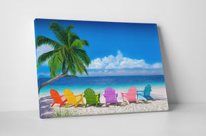 "Beach Chairs Painting Canvas - ""Beach Chairs"" by Jason Fetko"