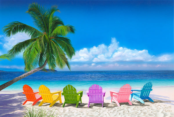 Beach Chairs Art Print, Beach Art, Ocean Palm Trees Art Print Beach Wall Decor, Ocean art, Beach poster, adirondack chairs art print, blue