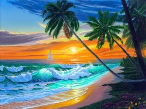 "Beach Tropical Painting Art - ""Emerald Seas"" by Jason Fetko"