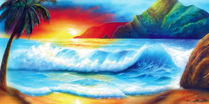 "Ocean Painting Art - ""Hawaii Sunset"" by Jason Fetko"