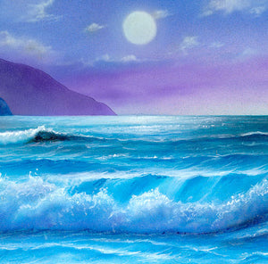 "Moonlit Ocean Painting Canvas - ""Moonlight Serenade"" by Jason Fetko"