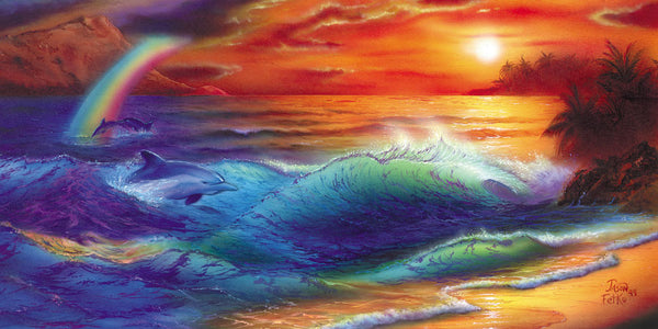 "Dolphin Sunset Painting - ""Ocean Spectrum"" by Jason Fetko"