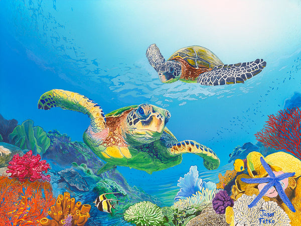"Sea Turtle Painting Art - ""Sea Turtle Treasures"" by Jason Fetko"