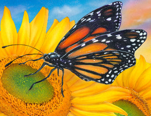"Sunflower Painting and Butterfly Painting on Canvas - ""Sunflower Dreams"" by Jason Fetko"