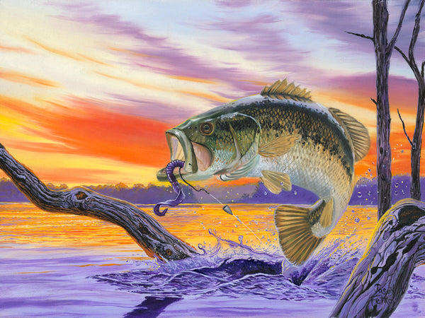 "Bass Painting Fishing Art - ""Bass Splash"" by Jason Fetko"