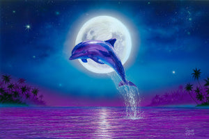 Dolphin Wall Decor, Dolphin Canvas Art, Large Beach Painting, Dolphin Canvas Wall Art, Dolphin Moonlight Painting Gallery Wrap