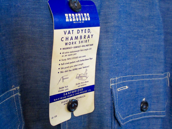 [Vintage '50s-'60s] Deadstock Hercules vat-dyed chambray work shirt sz. 17