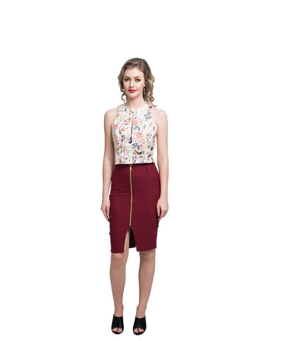 Maroon Zipper Style Pencil Skirt