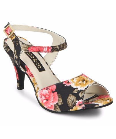 Uptownie X Bootico-Black Floral Strappy Heels