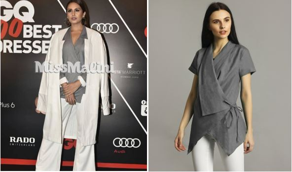 Huma Qureshi Miss Malini GQ Best dressed Uptownie Wrap top grey
