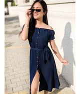Solid Navy Off Shoulder Buttoned Down Dress
