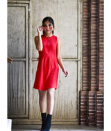 Solid Red Waist Tied Cotton Dress