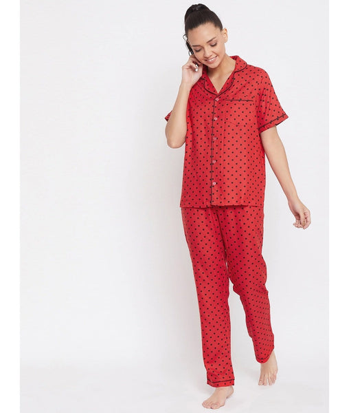 Red Polka Print Night Suit