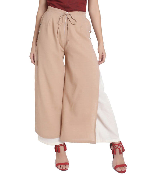 Layered Side Slit Solid Adjustable Palazzo - Uptownie