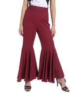 Uptownie Plus Solid Maroon Flared Adjustable Pants 4 trendsale