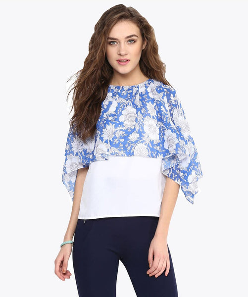 Printed Blue Cape Crepe and Georgette Top - Uptownie