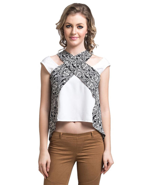 Solid White Criss-cross Top - Uptownie