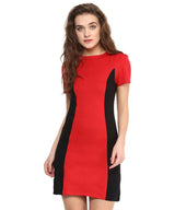Solid Red Cotton Bodycon Dress - Uptownie,Clearance Sale