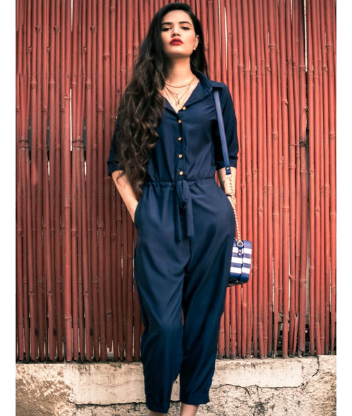Navy Blue Roll Up Jumpsuit