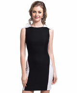 Solid Black Bodycon Stretchable Cotton Dress - Uptownie