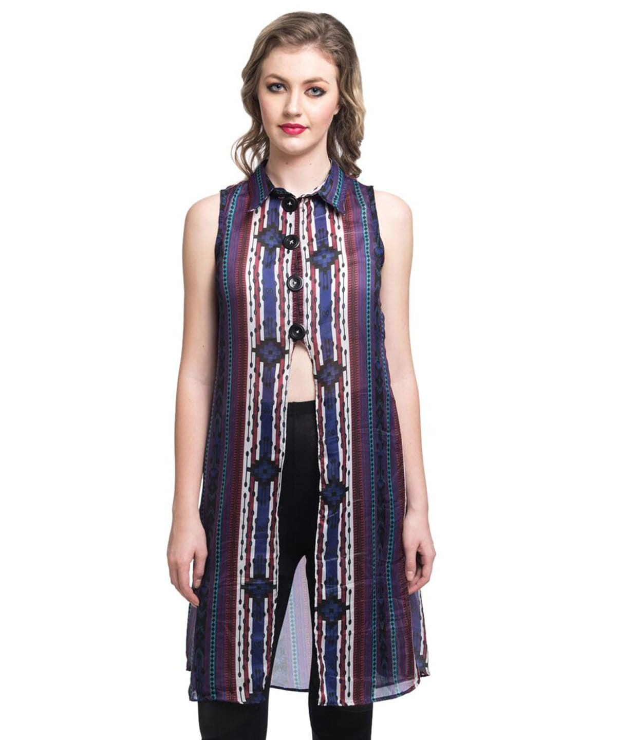 Printed Purple Front Slit Satin Tunic - Uptownie