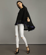 Black Georgette Cape Maternity Top