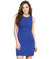 Solid Blue Cotton Front Zipper Dress - Uptownie