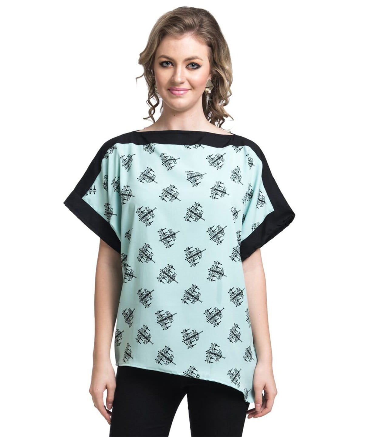 Printed Mint Green Boxy Crepe Top - Uptownie