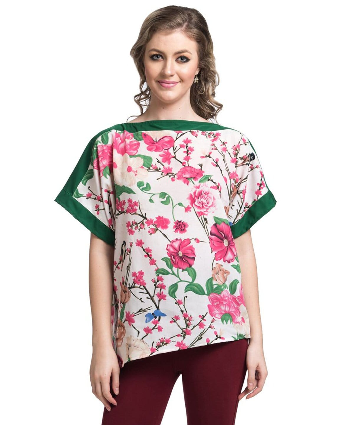 Printed White Casual  Boxy Crepe Top - Uptownie