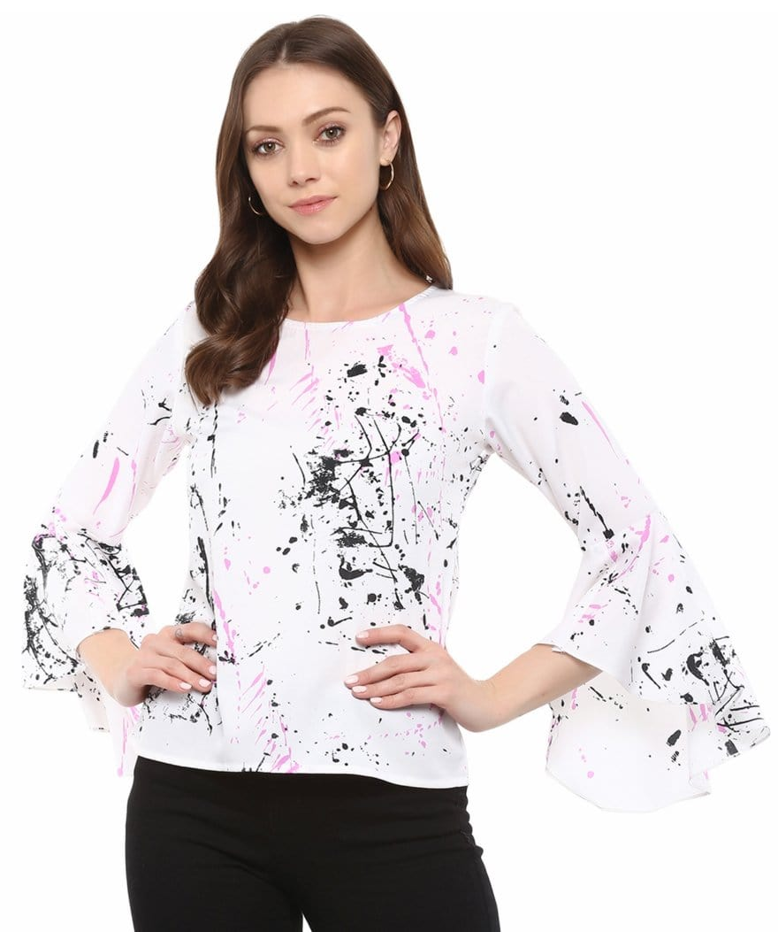 Uptownie Plus Abstract Print Boat Neck Bell Sleeves Crepe Top