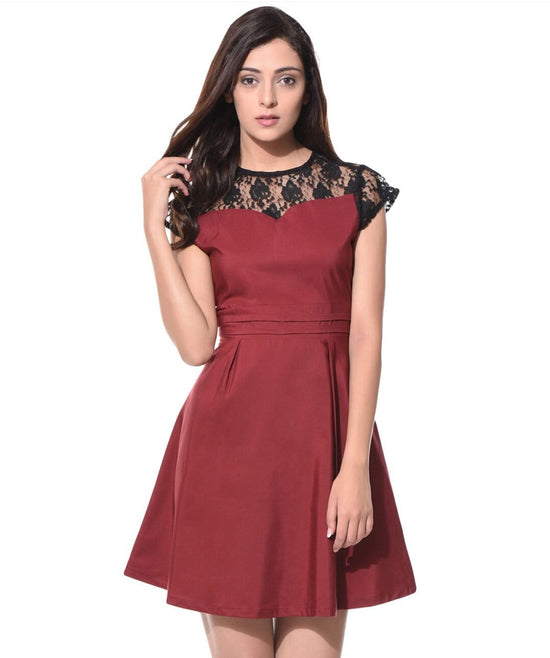 Solid Wine Lace Skater Dress - Uptownie