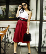 Maroon Box Pleat Culottes