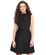 Solid Black Box Pleated Skater Dress - Uptownie