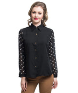 Solid Black Button Down Crepe Shirt - Uptownie