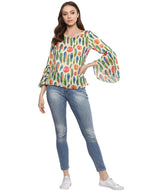 Feather Print Bell Sleeves White Top