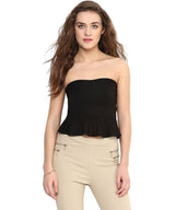 Solid Black Tube Top. FLAT 20% OFF