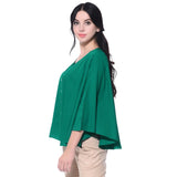 Solid Green Buttoned Crepe Cape Top