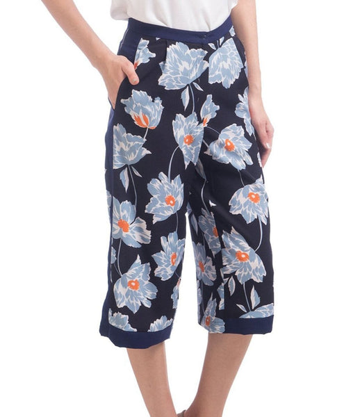 Blue Floral Printed Crepe Elasticated Culottes - Uptownie