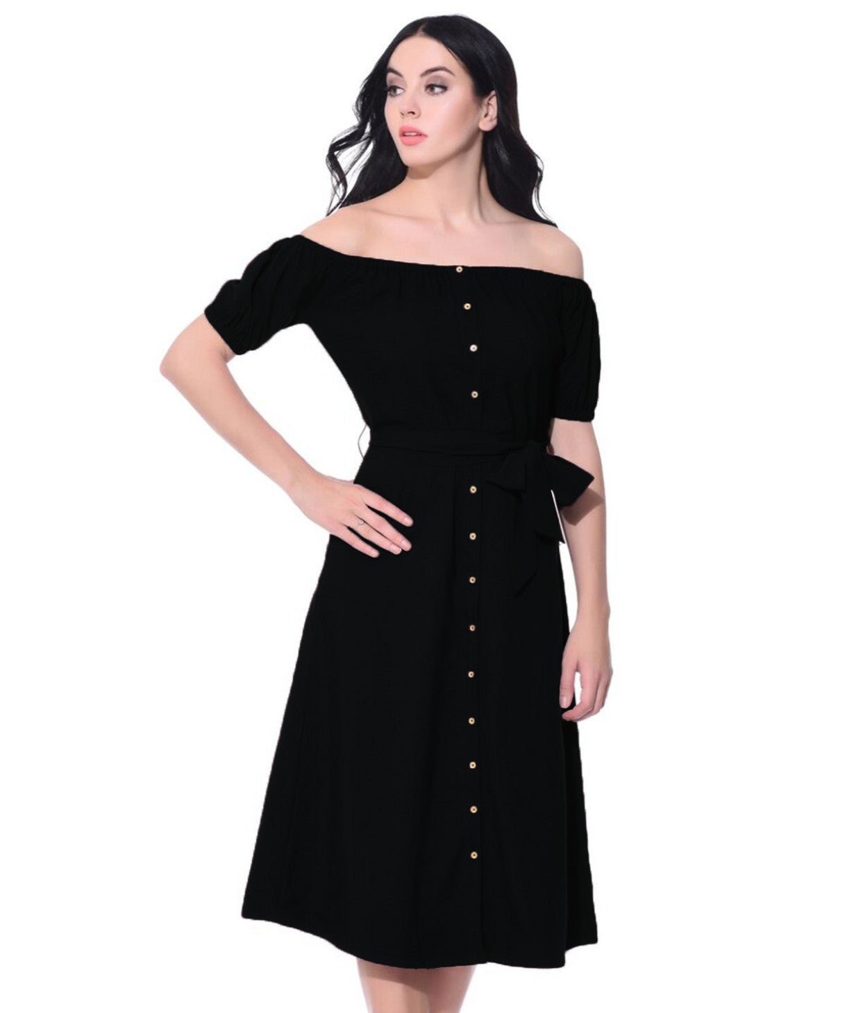 Solid Black Off Shoulder Buttoned Down Dress - Uptownie
