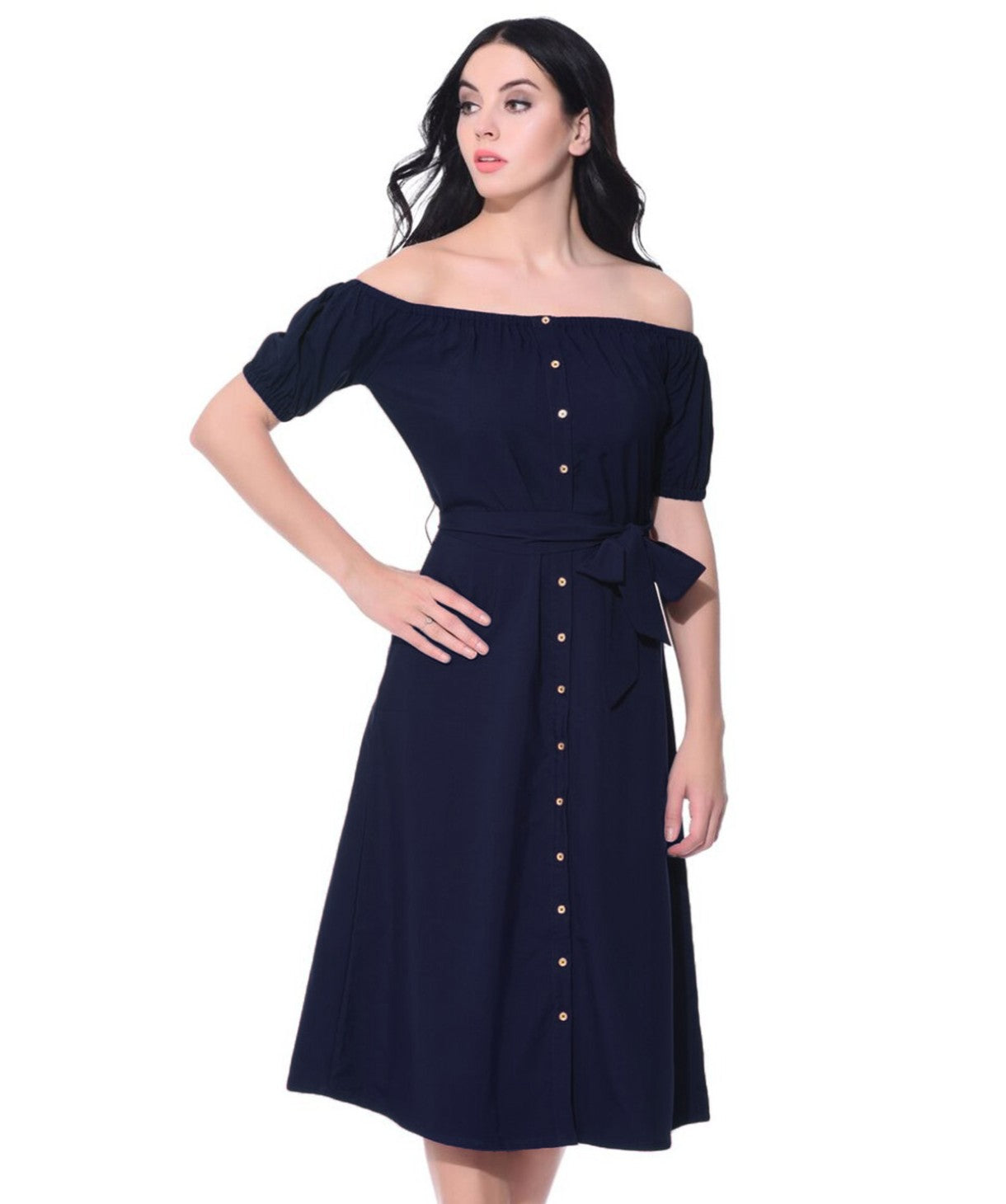 Solid Navy Off Shoulder Buttoned Down Dress - Uptownie