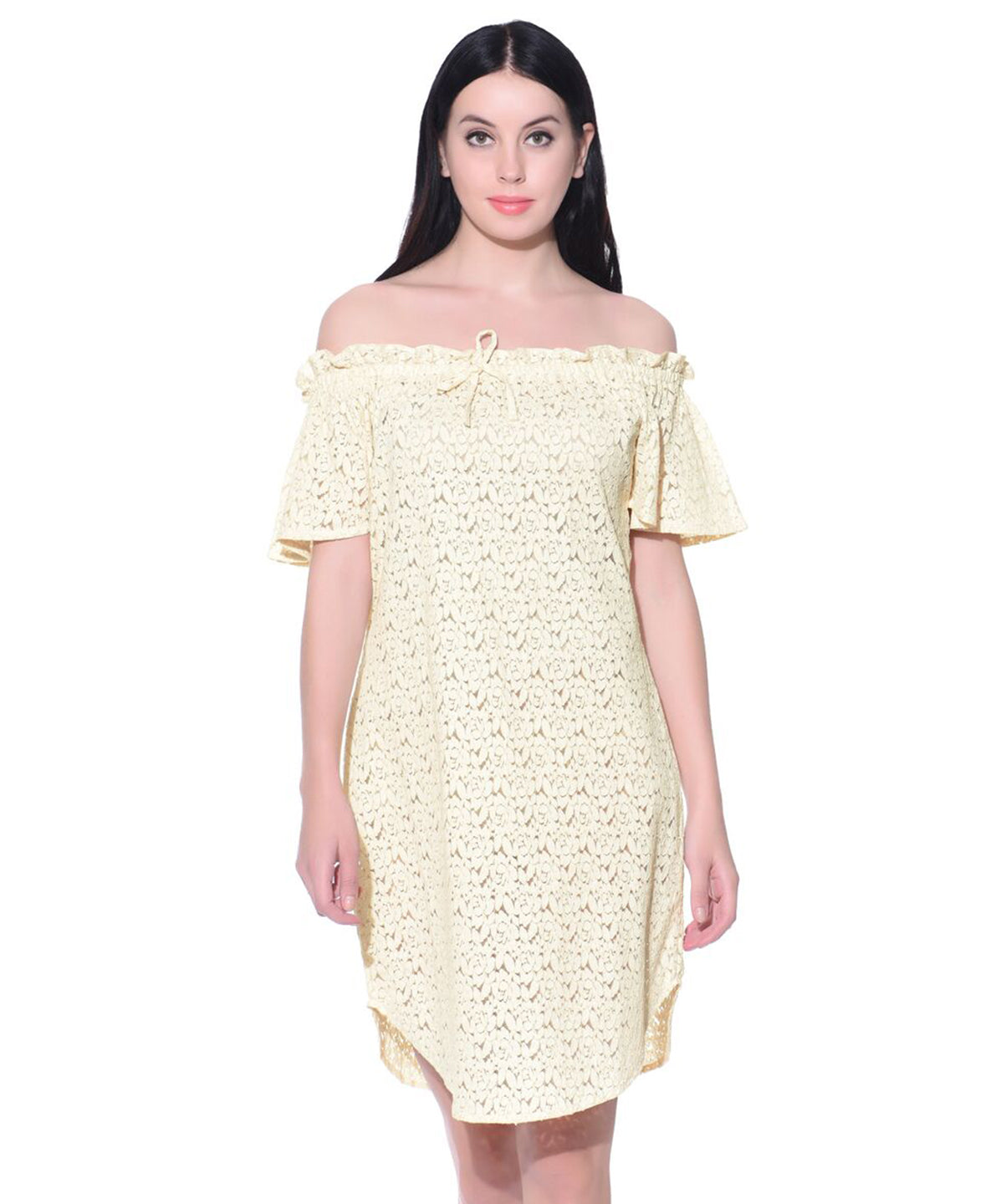 Solid Off Shoulder Lace Dress - Uptownie
