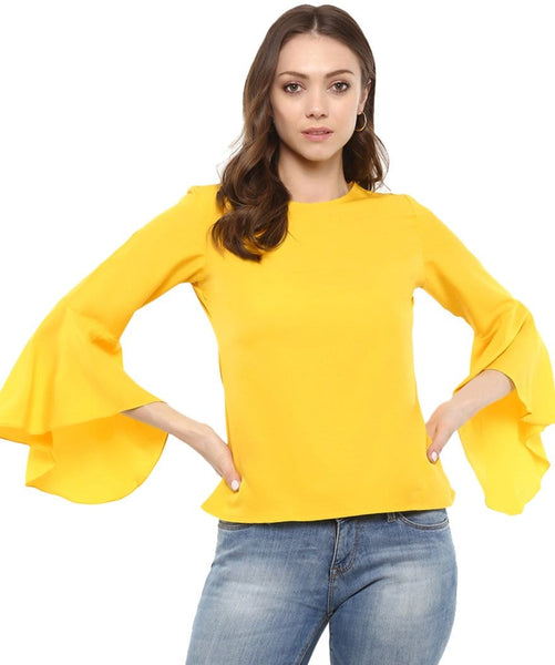 Yellow Solid Crepe Round Neck Bell Sleeve Top