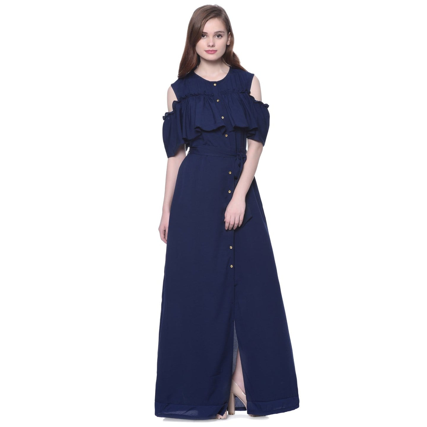 460c3a34c6af1 Ruffled Buttoned Cold Shoulder Navy Blue Maxi Maternity Dress – Uptownie