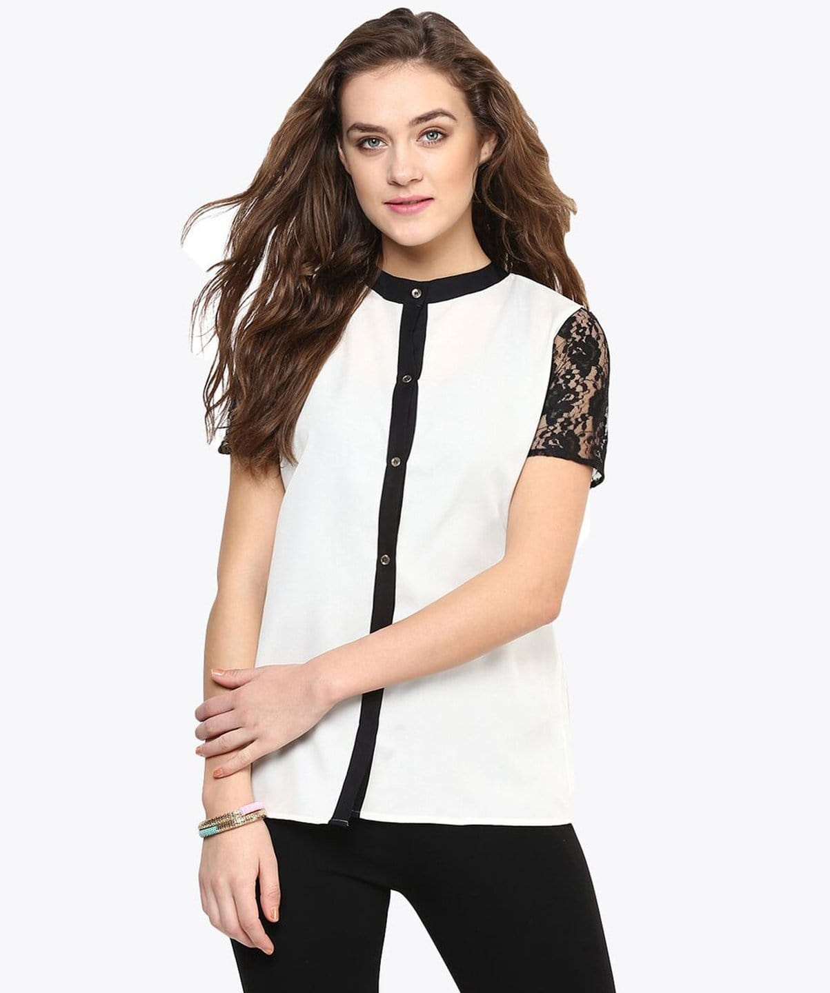 Solid White Lace Sleeves Button Down Shirt - Uptownie