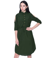 Uptownie Plus Green High Neck Buttoned Dress - Uptownie