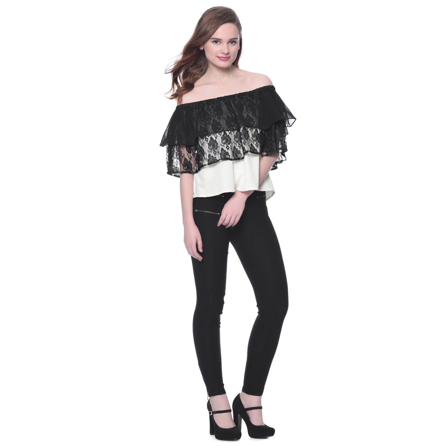 70c6dabaa9b ... Shoulder Top · Solid Black & White Crepe Lace & Ruffles Off Shoulder ...