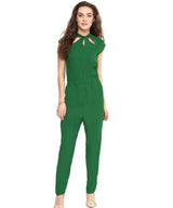 Green Neck Cut-out Crepe Jumpsuit - Uptownie