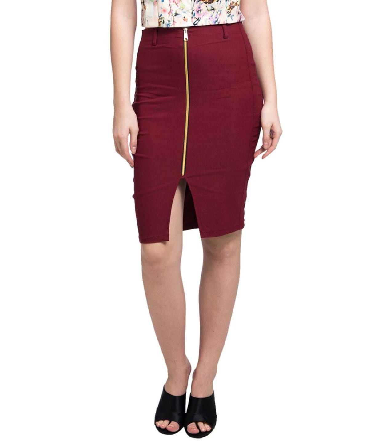 Maroon Zipper Style Pencil Skirt - Uptownie