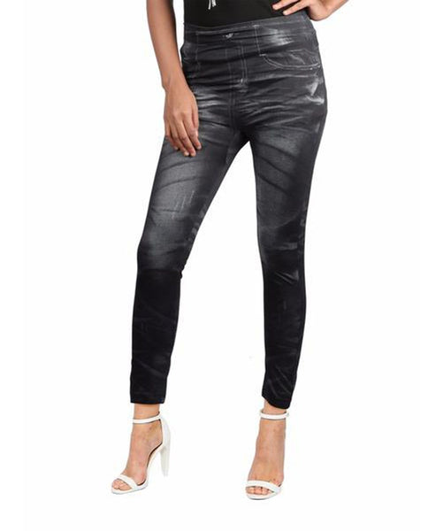 Faux Charcoal Denim Leggings - Uptownie